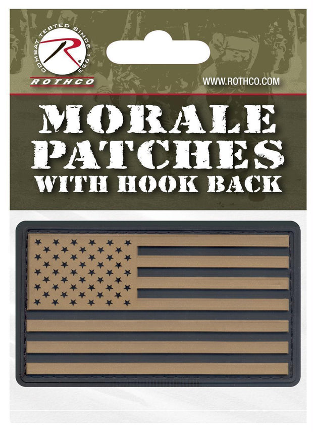tactical and military Rothco PVC US Flag Patch With Hook Back