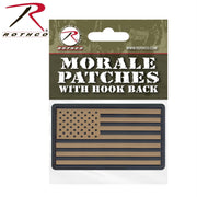 tactical and military Rothco PVC US Flag Patch With Hook Back Black / Khaki Header Card One Size