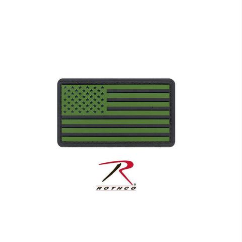 tactical and military Rothco PVC US Flag Patch With Hook Back Black / Olive Drab Bulk Packaging One Size