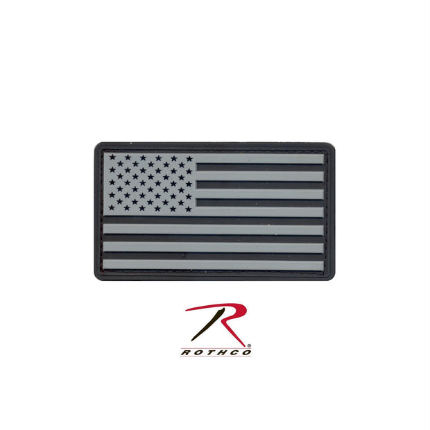 tactical and military Rothco PVC US Flag Patch With Hook Back Black / Silver Bulk Packaging One Size