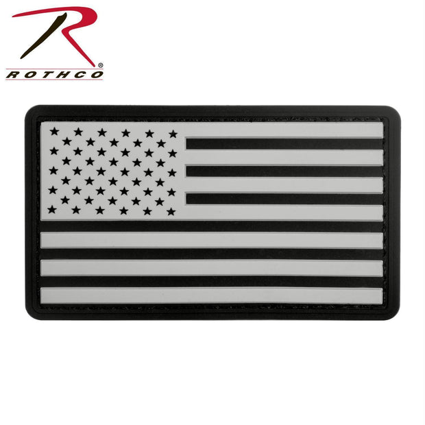 tactical and military Rothco PVC US Flag Patch With Hook Back Black / White Bulk Packaging One Size