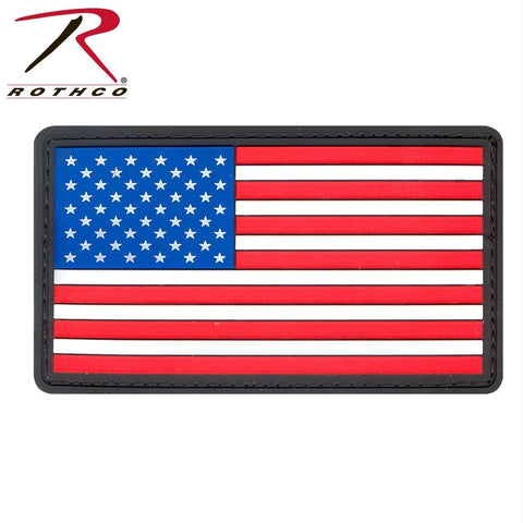 tactical and military Rothco PVC US Flag Patch With Hook Back Red / White / Blue Bulk Packaging One Size