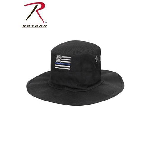 Rothco Thin Blue Line Adjustable Boonie Hat Black One Size