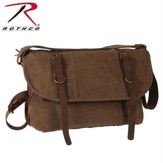 Rothco Vintage Canvas Explorer Shoulder Bag w/ Leather Accents Brown