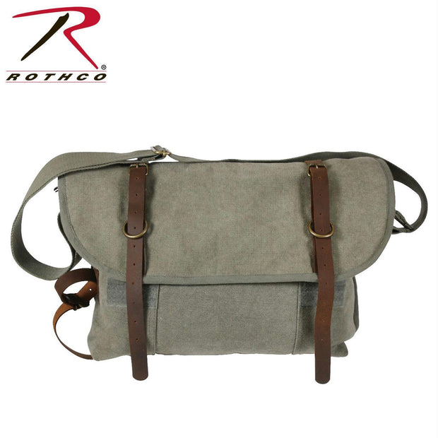 Rothco Vintage Canvas Explorer Shoulder Bag w/ Leather Accents Olive Drab