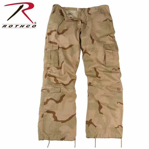 Rothco Womens Camo Vintage Paratrooper Fatigue Pants Tri-Color Desert Camo XXS