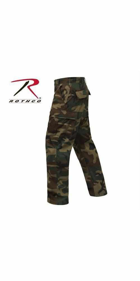 best-Rothco Relaxed Fit Zipper Fly BDU Pants-Woodland Camo-3XL-