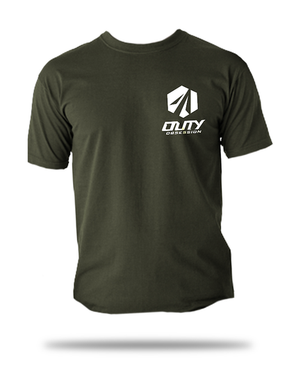 Military Green Distressed Logo Shirt