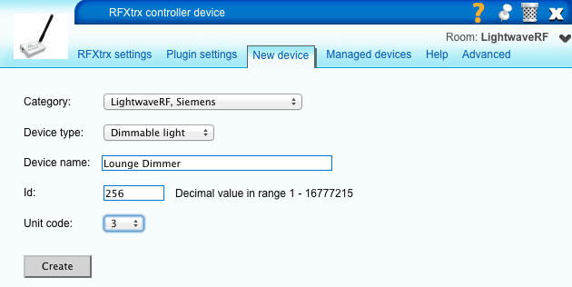 Adding LightwaveRF Devices to VERA Manually