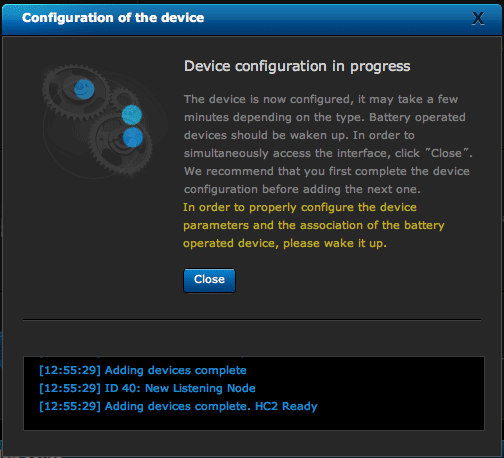 HC2's 'Configuring devices' dialog
