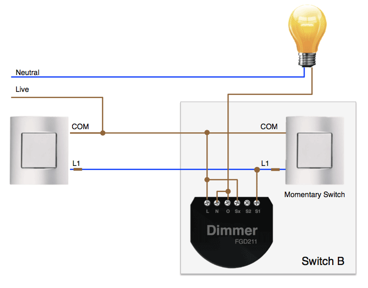 Fibaro Dimmer installed in a 2-wire 2-way system