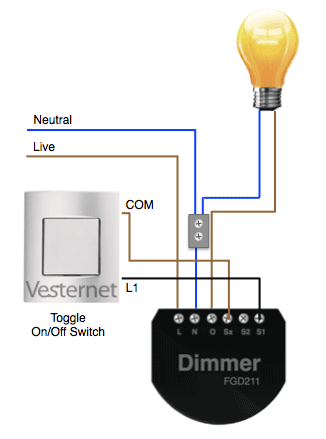 3-wire lighting circuit with Fibaro Dimmer Installed