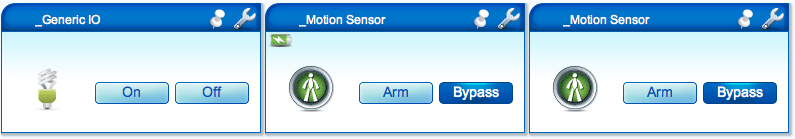 Fibaro Flood Sensor's three device icons in VERA