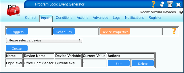 PLEG Inputs - Device Properties in VERA