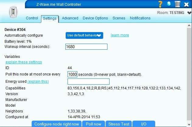Z-Wave.me Wall Controller BJ 2000 Settings in VERA