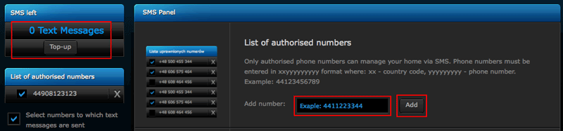 Setting the mobile phone number and buying credits