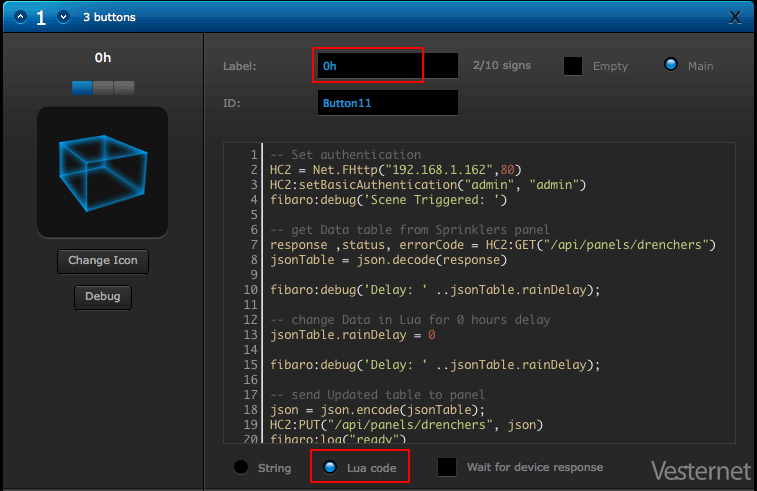 Adding the IR Command String to the Button