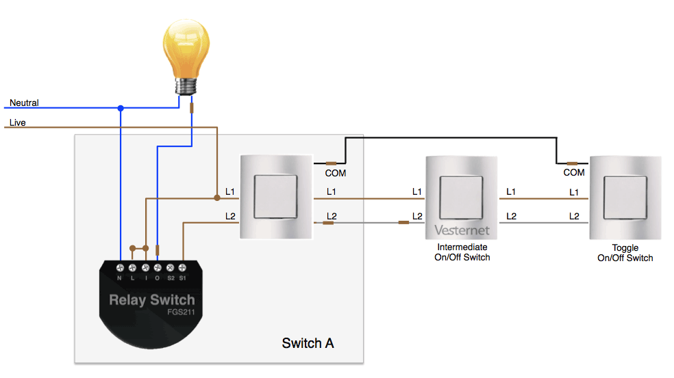 APNT-92 - 2-Way Lighting using Fibaro Relays on 3 way rocker switch wiring diagram, 3 way combination switch wiring diagram, 3 way speaker wiring diagram, 3 way rotary switch wiring diagram,