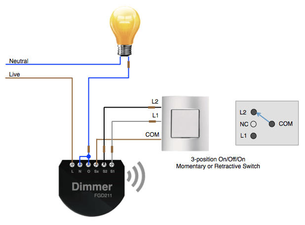 Using a 3-position switch with a Fibaro Dimmer