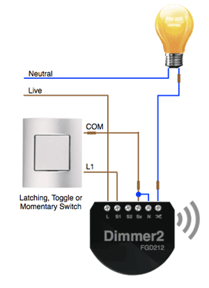 2-wire lighting circuit with Fibaro Dimmer Installed