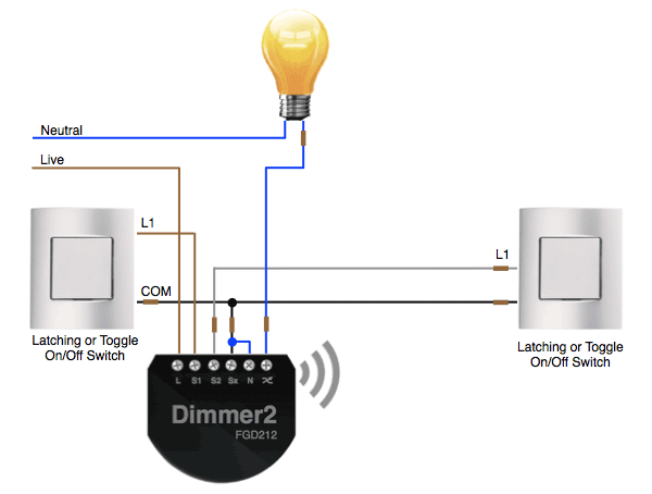 2-Way Wiring On/Off Control with the Fibaro Dimmer 2