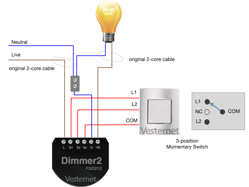 3-Wire Wiring with 3-Position Switch