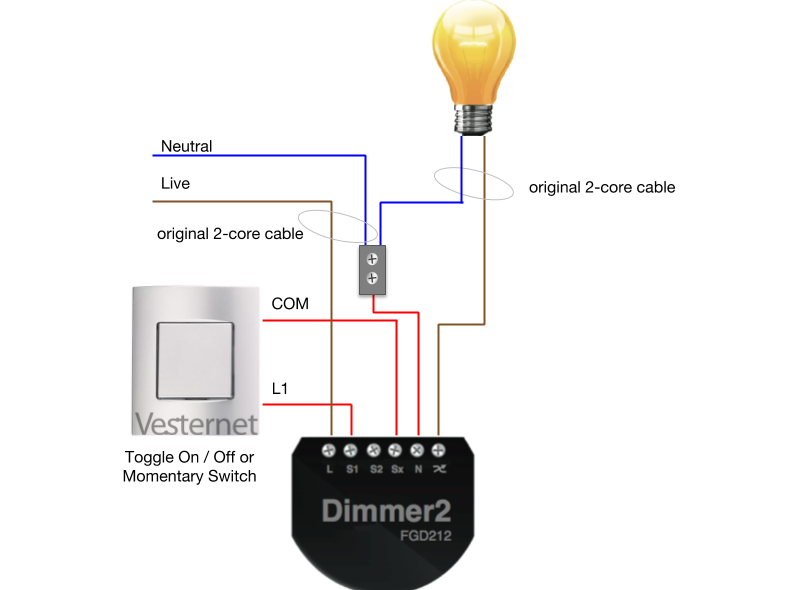 3-Wire Wiring with Toggle or Momentar Switch