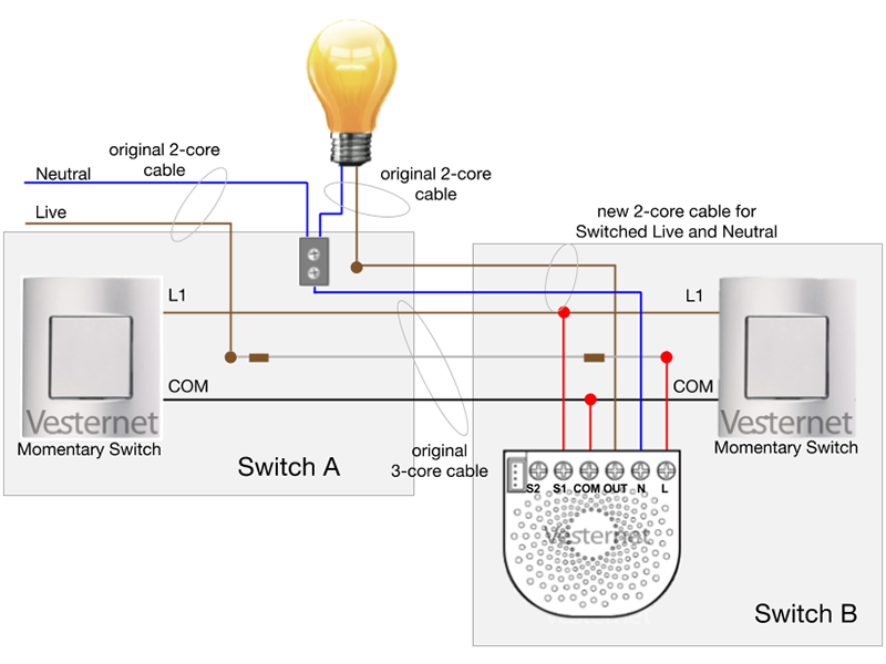 2-Way Wiring with Momentary Switches (Switch B)