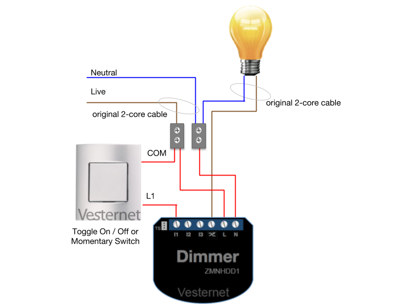 3-Wire Wiring with Toggle or Momentary Switch
