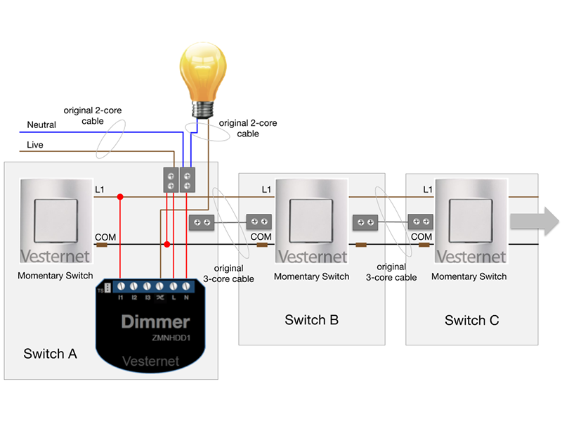 Multi-Way Wiring with Momentary Switches