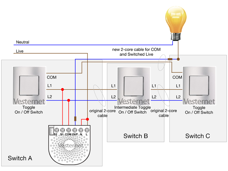 APNT-151 - Alternate 3-Way Lighting Circuit with Intermediate Switch on switch connection diagram, single pole light switch diagram, 2-way light switch diagram, four-way switch diagram,