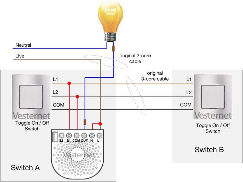 2-way wiring with toggle switches (switch a)