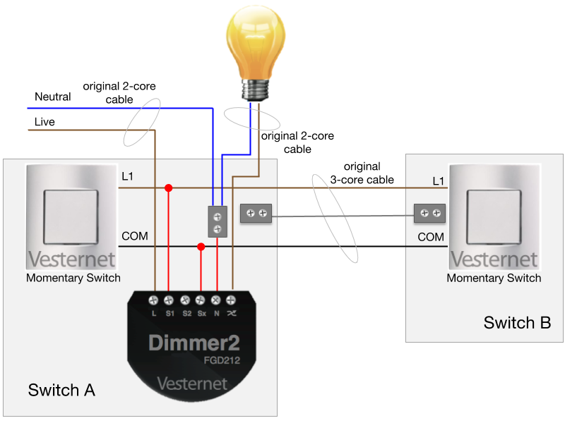 2-Way Wiring with Momentary Switches (Switch A)