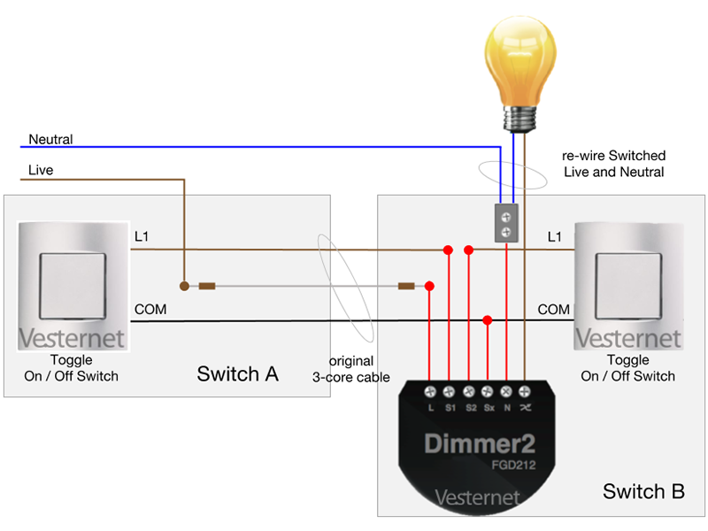2-Way Wiring with Toggle Switches (Switch B)