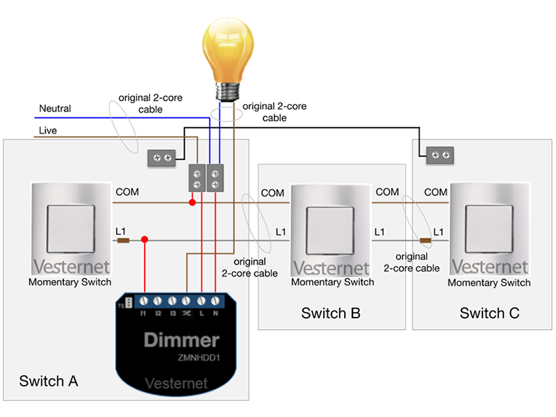 Standard 3-Way Lighting Circuit with Intermediate Switch (with Neutral) using the Qubino Flush Dimmer Plus with Momentary switches (Switch A)