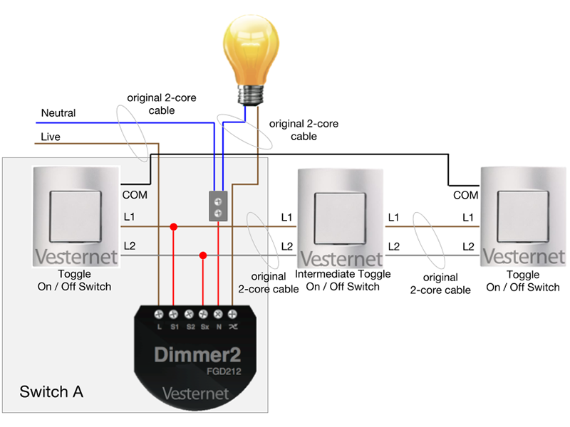 Wondrous Apnt 158 Standard 3 Way Lighting Circuit With Intermediate Switch W Wiring Digital Resources Indicompassionincorg