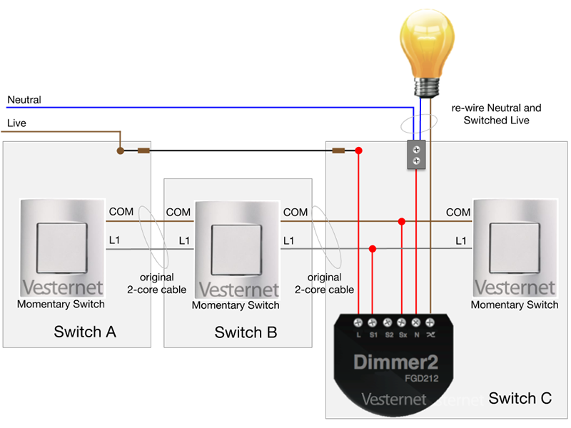 Awe Inspiring Apnt 158 Standard 3 Way Lighting Circuit With Intermediate Switch W Wiring Cloud Hisonuggs Outletorg