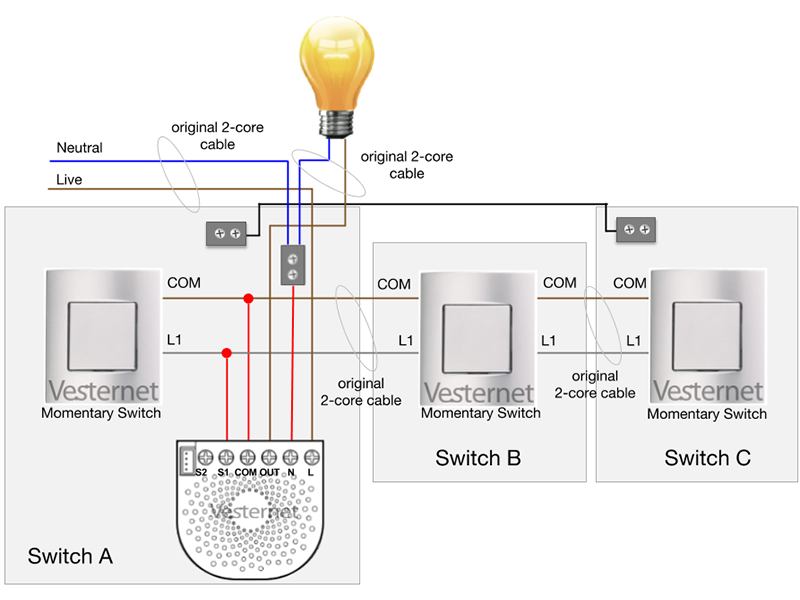 Standard 3-Way Lighting Circuit with Intermediate Switch (with Neutral) using the Aeotec Nano Dimmer with Momentary switches (Switch A)
