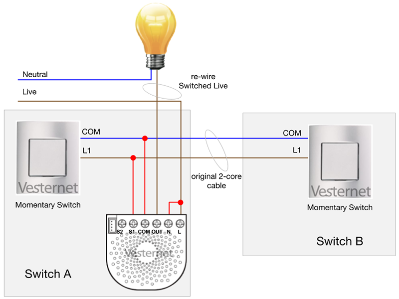 Alternate 2-Way Lighting Circuit using the Aeotec Nano Dimmer with Momentary switches (Switch A)