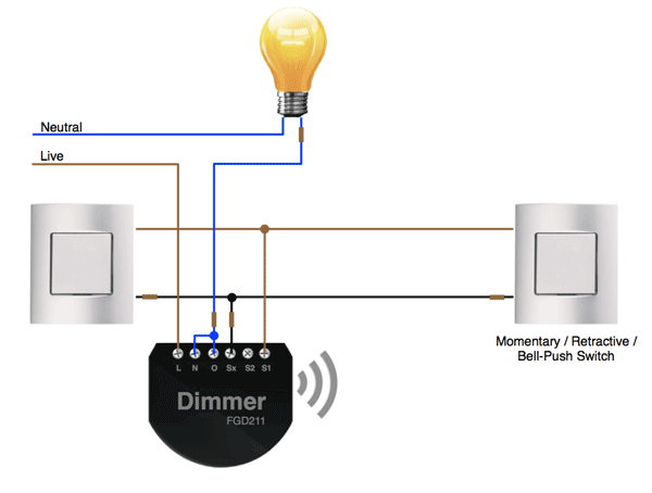 2-Way Wiring Full Dimming Control with the Fibaro Dimmer