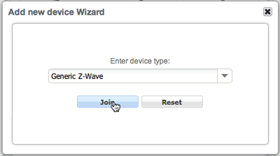 Zipato Add new device wizard dialog