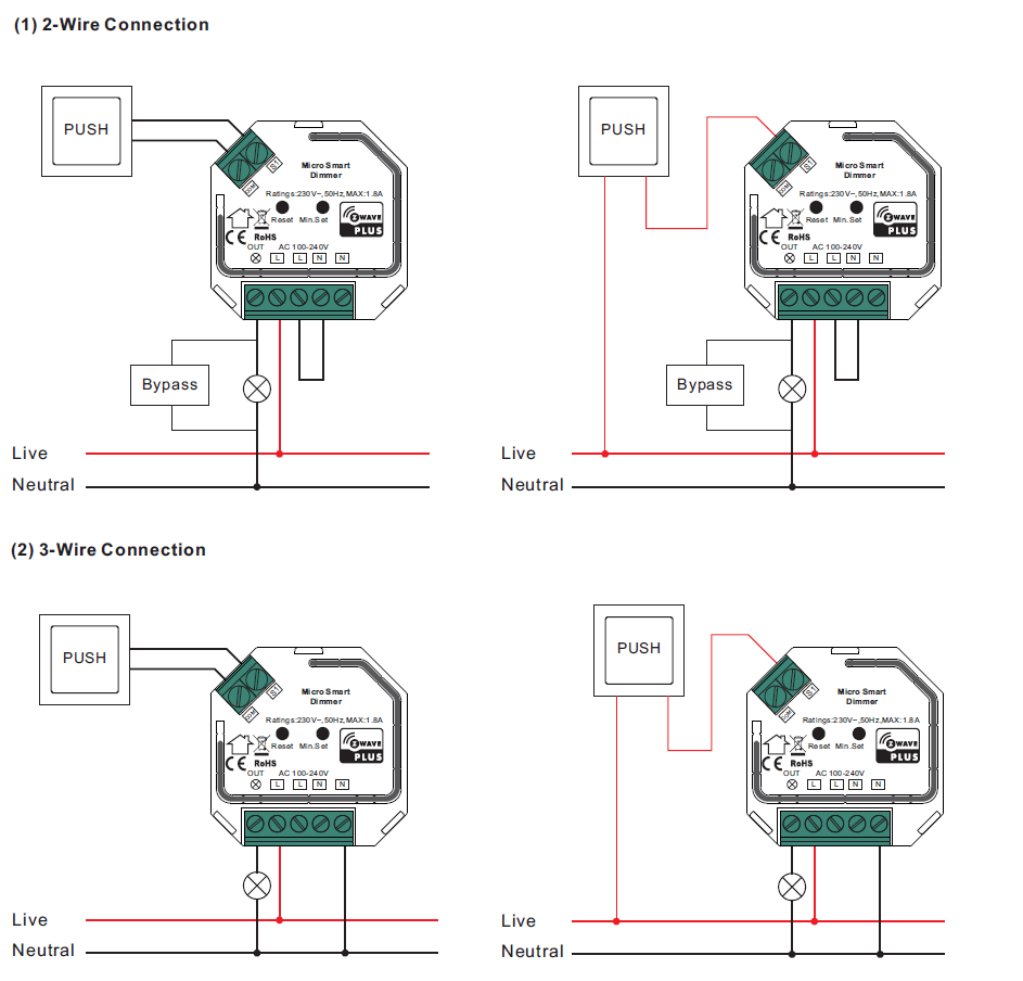Physically Installing the VES-ZW-DIM-001 2-Wire Capable Dimmer   Vesternet