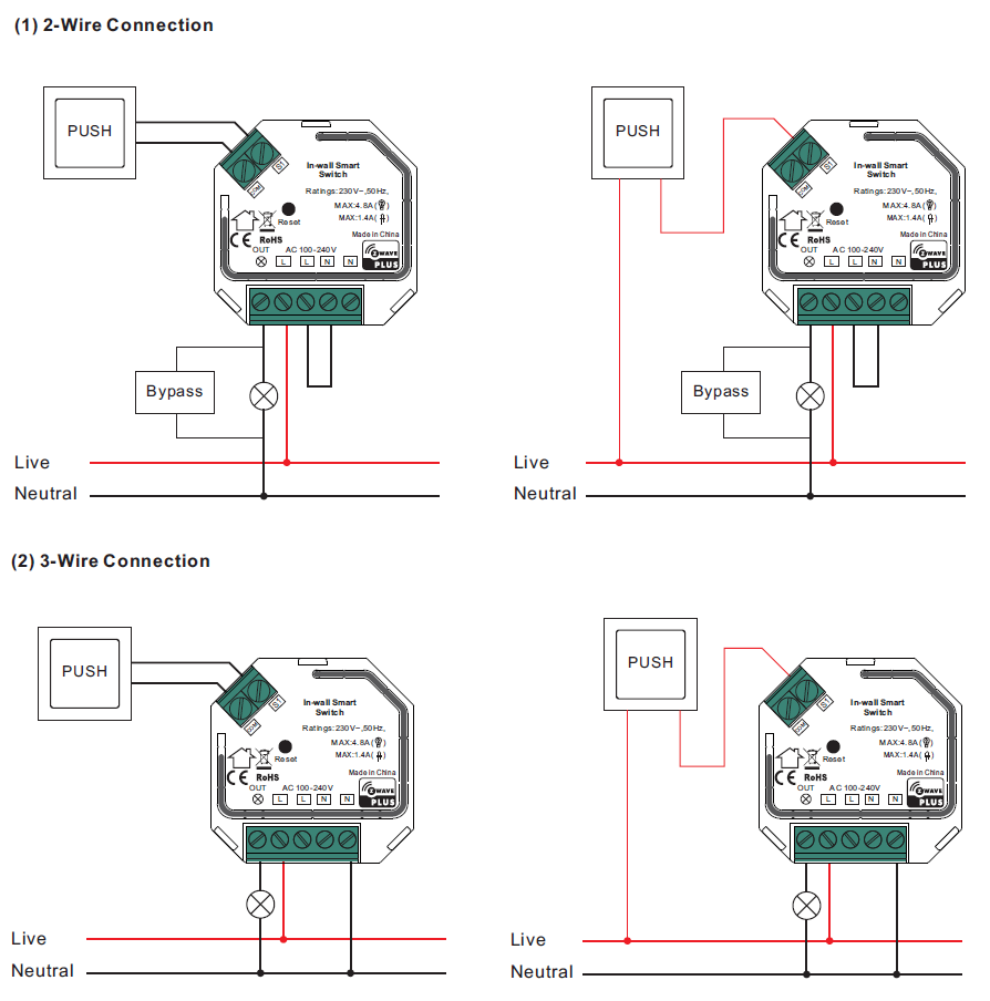 Physically Installing the VES-ZW-SWI-002 2-Wire Capable Switch | Vesternet