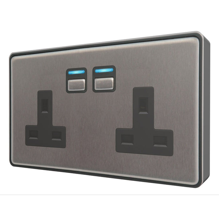 LightwaveRF 2 Gang Smart Socket - Stainless Steel - Gen2 Migration_Sockets LightwaveRF