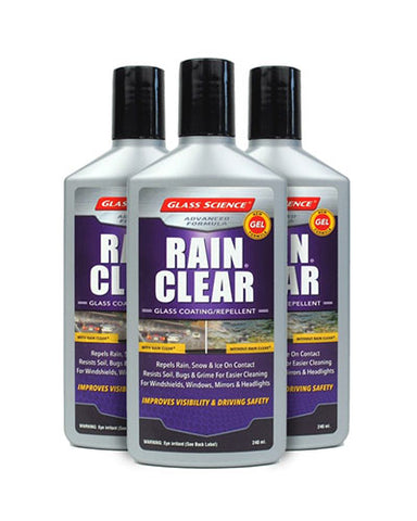 Rain Clear® (Gel) Rain Repellent/Glass Treatment 8 oz - 3 Pack by Glass Science #57865