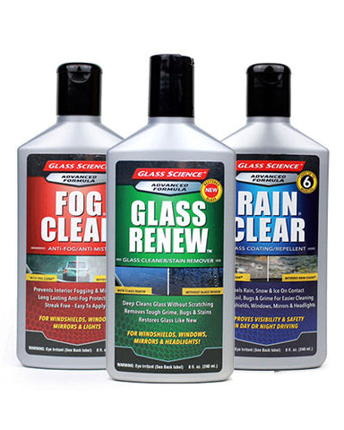Rain Clear® Critical Glass Essentials - Cleaning & Protection - 8 oz - 3 Pack by Glass Science