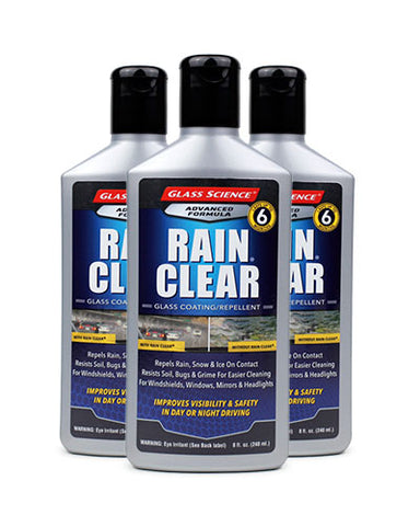 Rain Clear® (Liquid) Glass Treatment/Rain Repellent - 8 oz - 3 Pack by Glass Science #600253