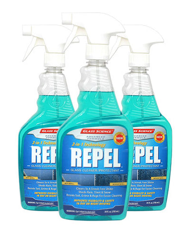 REPEL® Auto Glass Cleaner + Repellent - 25 oz - 3 Pack by Glass Science #301033