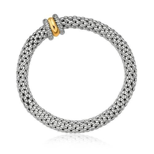 18k Yellow Gold and Sterling Silver Stretchable Bangle in Popcorn Chain