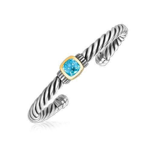 18k Yellow Gold and Sterling Silver Blue Topaz Open Cable Style Cuff Bangle, size 7.5''